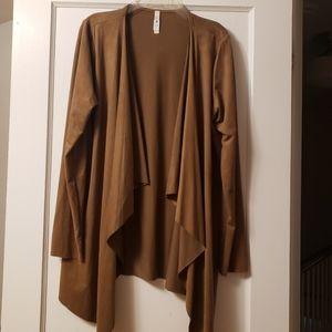 Open Front Cardigan Jacket Tan